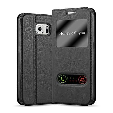 Недорогие Чехлы и кейсы для Galaxy S6-Кейс для Назначение SSamsung Galaxy S6 Кошелек / с окошком / Флип Чехол Однотонный Твердый Кожа PU