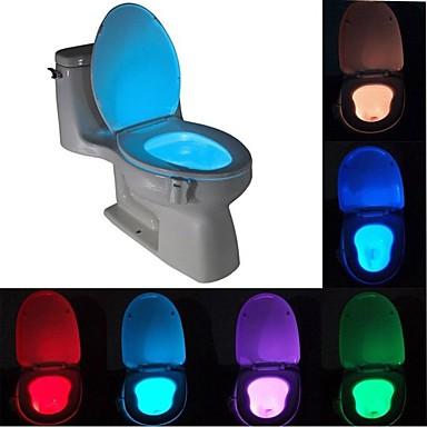 Недорогие Необычное LED освещение-Brelong 1 шт. 8-цветный датчик движения человека пир туалет ночной свет