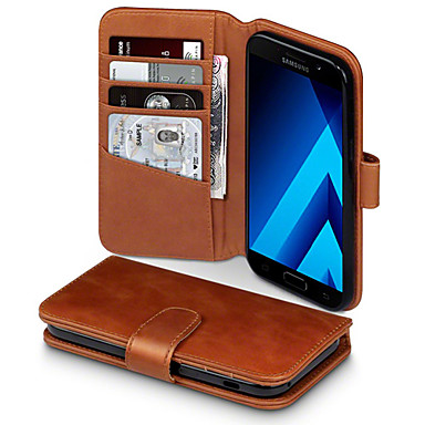 Недорогие Чехлы и кейсы для Galaxy A5-Кейс для Назначение SSamsung Galaxy A5 Кошелек / Бумажник для карт / Защита от удара Чехол Однотонный Твердый Кожа PU