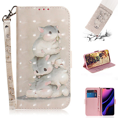 voordelige iPhone X hoesjes-hoesje Voor Apple iPhone XS / iPhone XR / iPhone XS Max Portemonnee / Kaarthouder / met standaard Volledig hoesje dier / 3D Cartoon PU-nahka