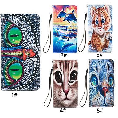 voordelige Galaxy J-serie hoesjes / covers-hoesje Voor Samsung Galaxy J8 (2018) / J7 (2017) / J6 (2018) Portemonnee / Kaarthouder / met standaard Volledig hoesje Kat / dier Hard PU-nahka