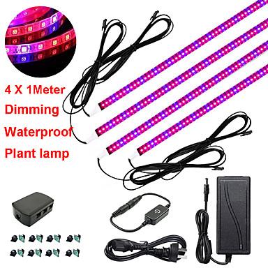 zdm 4x1m 36w dimming led botanic crește bandă lumini cu spectru albastru roșu pentru creșterea instalației de seră cu raft și adaptor 12v 3a
