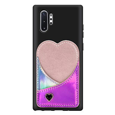 voordelige Galaxy Note-serie hoesjes / covers-hoesje voor Samsung Galaxy Note 10 / Galaxy Note 10 plus kaarthouder / schokbestendige achterkant hart pu lederen hoes voor Samsung Galaxy Note 10 / Galaxy Note 10 plus