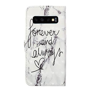 voordelige Galaxy S-serie hoesjes / covers-hoesje Voor Apple / Samsung Galaxy Galaxy S10 / Galaxy S10 Plus / Galaxy S10 Lite Kaarthouder / Flip / Patroon Volledig hoesje Woord / tekst / Geometrisch patroon / Cartoon PU-nahka
