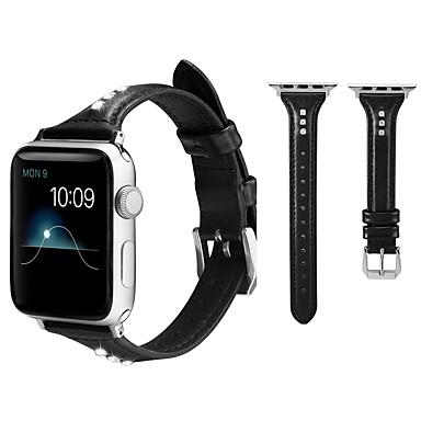 Недорогие Ремешки для Apple Watch-Роскошный ремешок с бриллиантами и стразами для яблочных часов 44мм / 42мм / 40мм / 38мм из натуральной кожи ремешок для часов серии iwatch 1 2 3 4