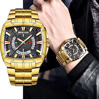 ieftine Ceasuri din Oțel Inoxidabil-Bărbați Oțel Inoxidabil Japoneză Quartz Japonez Stil modern Oțel inoxidabil Negru / Auriu 30 m Iluminat Ziua intalnirii Analog Casual - Negru Auriu Auriu / Negru Un an Durată de Viaţă Baterie