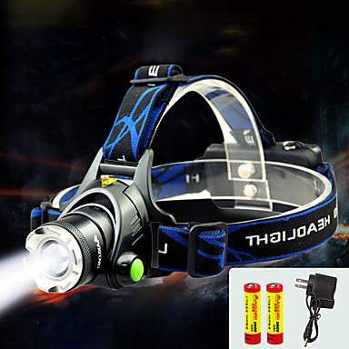 ieftine lanterne-TD286 Frontale Becul farurilor 800 lm LED Cree® T6 1 emițători cu Baterii și Încărcătoare Rezistent la apă Zoomable Focalizare Ajustabilă Camping / Cățărare / Speologie Ciclism Voiaj