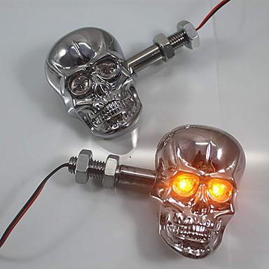 Недорогие Фары для мотоциклов-2шт хром светодиодный череп поворотник световой индикатор для мотоциклов улица грязный велосипед