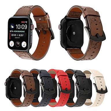 voordelige Apple Watch-bandjes-Vintage stijl prints echt leer 40 mm 44 mm 38 mm 42 mm horlogeband voor Apple Watch iwatch polshorloge armband serie 1 2 3 4