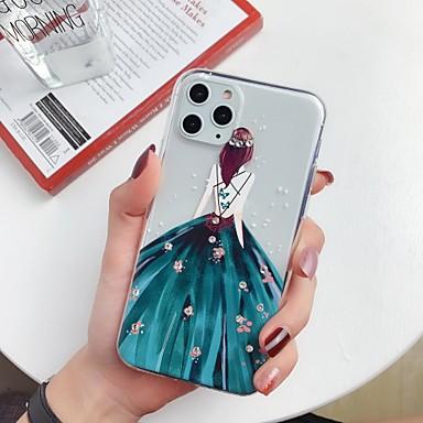 voordelige iPhone 6 Plus hoesjes-hoesje Voor Apple iPhone 11 / iPhone 11 Pro / iPhone 11 Pro Max Strass / Ultradun / Patroon Achterkant Transparant / Sexy dame / Cartoon TPU