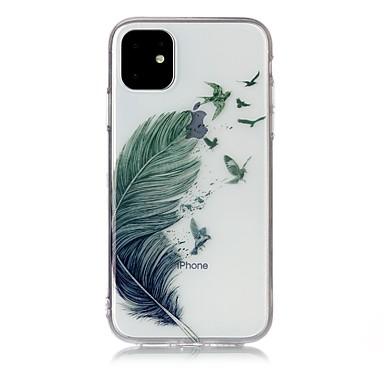 voordelige iPhone-hoesjes-hoesje Voor Apple iPhone 11 / iPhone 11 Pro / iPhone 11 Pro Max Ultradun / Transparant / Patroon Achterkant Veren TPU