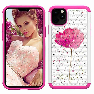 voordelige iPhone X hoesjes-hoesje Voor Apple iPhone 11 / iPhone 11 Pro / iPhone 11 Pro Max Schokbestendig / Strass / Patroon Achterkant Bloem TPU / Muovi