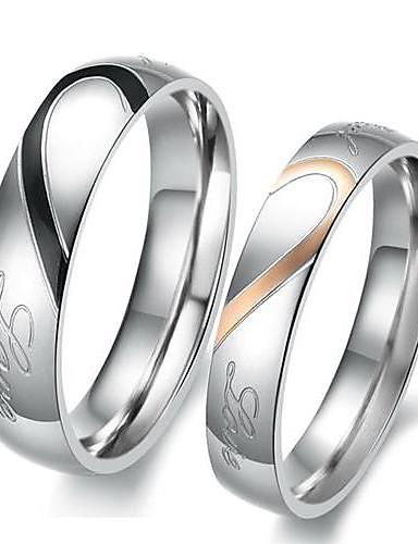 ราคาถูก เครื่องประดับผู้ชาย-สำหรับคู่รัก แหวนคู่ แหวนหมั้น - เหล็กกล้าไร้สนิม, Titanium Steel Heart, ความรัก สุภาพสตรี, เกี่ยวกับเจ้าสาว เครื่องประดับ สีเงิน สำหรับ งานแต่งงาน ปาร์ตี้ วันเกิด การหมั้น ของขวัญ ทุกวัน 5 / 6 / 7