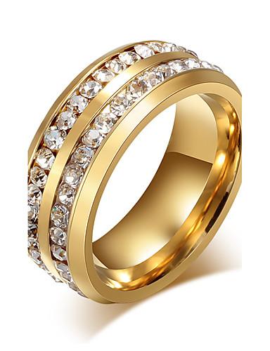 ราคาถูก เครื่องประดับผู้ชาย-สำหรับผู้ชาย วงแหวน - Titanium Steel เจ้าหญิง สุภาพสตรี, ส่วนบุคคล, คลาสสิก, แฟชั่น เครื่องประดับ สีทอง / สีดำ สำหรับ