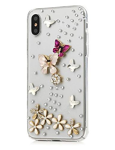 cheap iPhone Cases-Case For Apple iPhone X / iPhone 8 Plus Rhinestone / Pattern Full Body Cases Flower Hard PU Leather for iPhone X / iPhone 8 Plus / iPhone 8