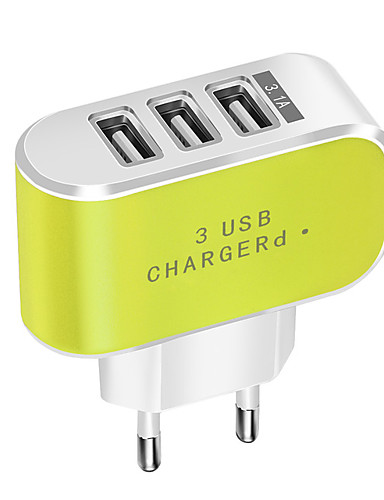cheap Phone Chargers-Portable Charger / USB Wall Charger EU Plug Normal 3 USB Ports 3.1 A DC 5V for Mobile Phone Tablet