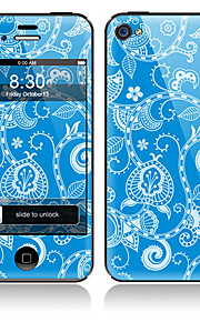 Blått blommönster Front och Back Full Stickers för iPhone 5