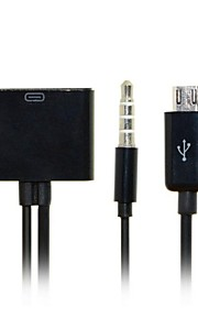 30pin female naar micro usb 5pin male data belast met audio kabel voor s3 / s4 / s5 / note2 / note3& tablet gratis verzending