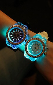 Mulheres Relógio de Moda Quartzo LED Silicone Banda Brilhante Preta Branco