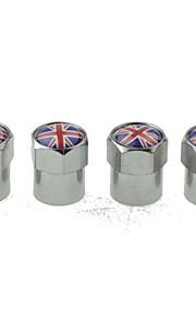 Luxury Car Tire National Flag Copper Valves Decoration Cap (UK 4 Pieces Per Pack)