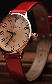 Mulheres Relógio de Moda Relógio de Pulso Relógio Elegante Quartzo Couro Banda Vermelho