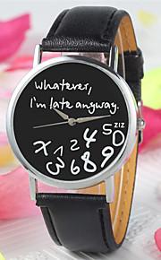 Mulheres Relógio de Moda Quartzo PU Banda Relógios com Palavras Preta Branco