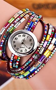 Mulheres Relógio de Moda Bracele Relógio Quartzo Colorido Couro Banda Brilhante Boêmio Preta Branco Vermelho