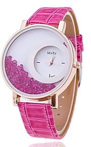Mulheres Relógio de Moda Quartzo Couro Banda Preta Branco Azul Vermelho Rose