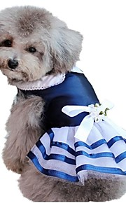 Spring and Summer Elegant Navy Style Princess Dress Dogs Clothes for Pets Dogs Stripped Blue Dog Skirts Dogs Clothes