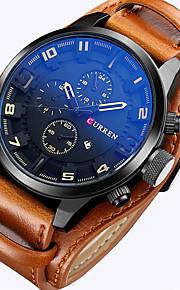 CURREN Men's Sport Watch Military Watch Wrist Watch Quartz Calendar / date / day Leather Band Analog Luxury Vintage Casual Black / Brown - Brown Red White / Brown Two Years Battery Life
