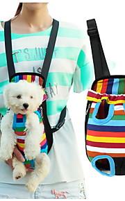 고양이 강아지 캐리어&여행용 배낭 전면 배낭 애완동물 바구니 스트라이프 휴대용 통기성 줄무늬 애완 동물