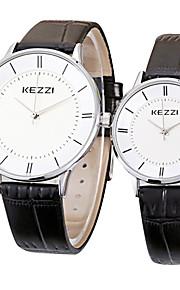 KEZZI Casal Quartzo Relógio de Pulso / Venda imperdível Couro Banda Casual Minimalista Legal Preta Branco Marrom