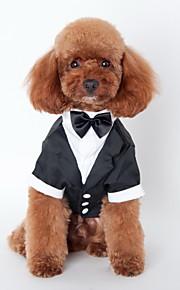 고양이 강아지 턱시도 강아지 의류 리본매듭 블랙 면 코스츔 애완 동물 남성용 귀여운 코스프레 웨딩
