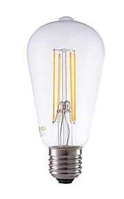 E26/E27 LED-glødepærer ST64 4 leds COB Mulighet for demping Dekorativ Varm hvit 450lm 2700K AC 220-240V