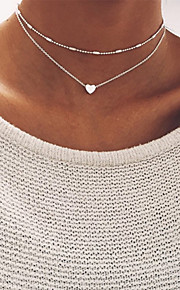 Women's Beads Choker Necklace - Heart Basic Gold, Silver Necklace Jewelry For Wedding, Party, Birthday