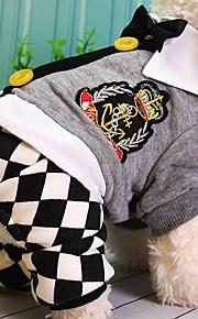 Hond Jumpsuits Hondenkleding Geruit Grijs Katoen Kostuum Voor huisdieren Casual/Dagelijks