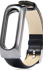 Bracelete de pulseira de couro com pulseira de pulseira pulseira pulseira com armação de metal para xiaomi mi banda 2 miband de relógio