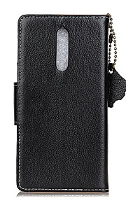 For Case Cover Card Holder Wallet Flip Full Body Case Solid Color Hard Genuine Leather for Nokia Nokia 8