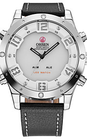 OHSEN Homens Relógio de Moda Relógio de Pulso Relógio Casual Japanês Quartzo LCD Couro Banda Legal Casual Luxuoso Preta
