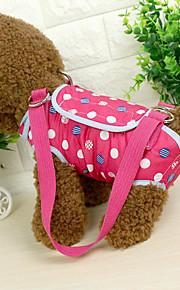 ネコ 犬 ショルダーバッグ ペット用 キャリア 携帯用 水玉 ブルー ピンク