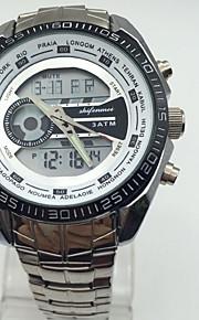 Homens Relógio Esportivo Chinês Digital Calendário Dois Fusos Horários Cronômetro Noctilucente Fase da lua Aço Inoxidável Banda Luxo Legal
