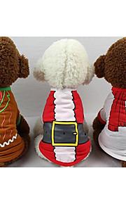 Gato camisa de cachorro / t-shirt coleira roupas de cachorro novo casual / diariamente manter quente carta de natal&número vermelho