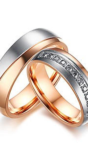 Herre Dame Forlovelsesring Ringe sæt Kvadratisk Zirconium Rhinsten Kvadratisk Zirconium Titanium Stål Smykker Til Bryllup Aftenselskab