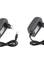 2 st 12v us eu nätadapter abs + pc för led strip ljus