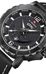 Homens Relógio Casual Relógio Militar Relógio de Pulso Japanês Quartzo Calendário Cronógrafo Mostrador Grande Couro Legitimo Banda Luxo