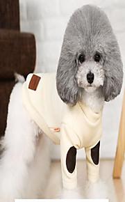 Gato Cachorro Casacos Súeters Roupas para Cães Algodão Primavera/Outono Inverno Casual Mantenha Quente Lazer Listras Natal Bege Cinzento