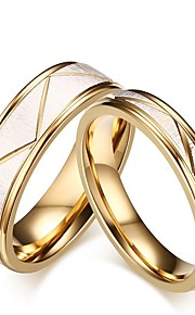 mænds kvinders ringe sæt forlovelsesring klassisk elegant titanium stål cirkel smykker til bryllup aften fest