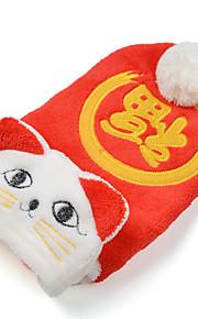 חתול כלב קפוצ'ונים בגדים לכלבים בד פלסטיק למטה חורף קיץ/אביב לשנה החדשה רקום אדום תחפושות עבור חיות מחמד