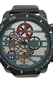 Herre Unik Creative Watch Armbåndsur Kinesisk Quartz Stor urskive Legering Læder Bånd Vintage Sej Sort