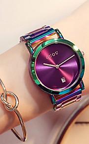 Dames Kwarts Polshorloge Japans Kalender Chronograaf Waterbestendig Vrijetijdshorloge Roestvrij staal Band Luxe Dress horloge Kleurrijk